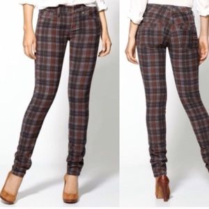 Free People Skinny Plaid Corduroy Pants 25